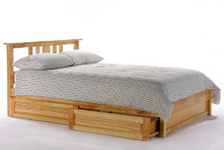the spices accessory drawers option shown with the thyme bed frame both in matching natural finishes - Rolling Bed Frame