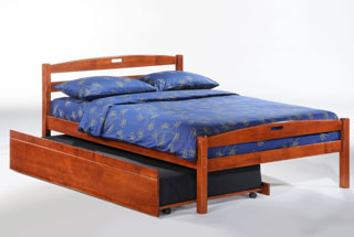 the sesame bed frame shown with zest twin trundle bed accessory - Queen Trundle Bed Frame