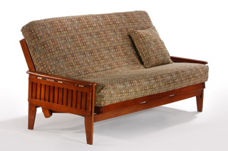 The Naples Full Futon Frame In Cherry Finish Roll Over Image To See How Pop Up Arms Work