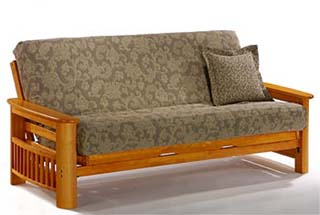 The Portofino Full Futon Frame In Honey Oak Finish Roll Over Image To See How Pop Up Arms Work