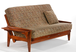 The Naples Frame In Cherry Finish Futon Chair Loveseat Loungers